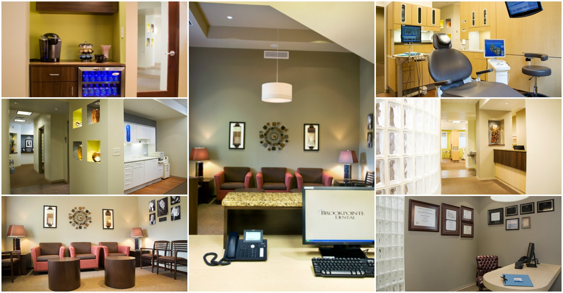 Photo collage of the stunning dental office of Brookpointe Dental, your Keensaw GA dentist.