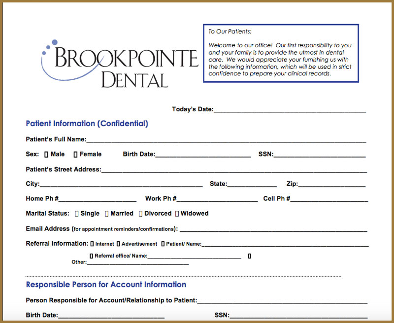 brookpointe dental downloadable form for new patients